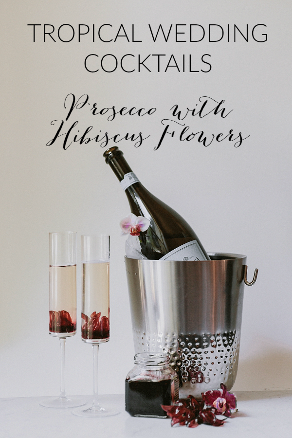 Tropical Wedding Cocktails: Prosecco with Hibiscus Flowers   Kelllē Sauer Photography   Type A Society for Bajan Wed