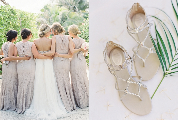 Watters Bridesmaid Dresses | Rene Caovilla Gladiator Sandals | Riviera Maya Mexico Beach Wedding By Kayla Barker Fine Art Photography