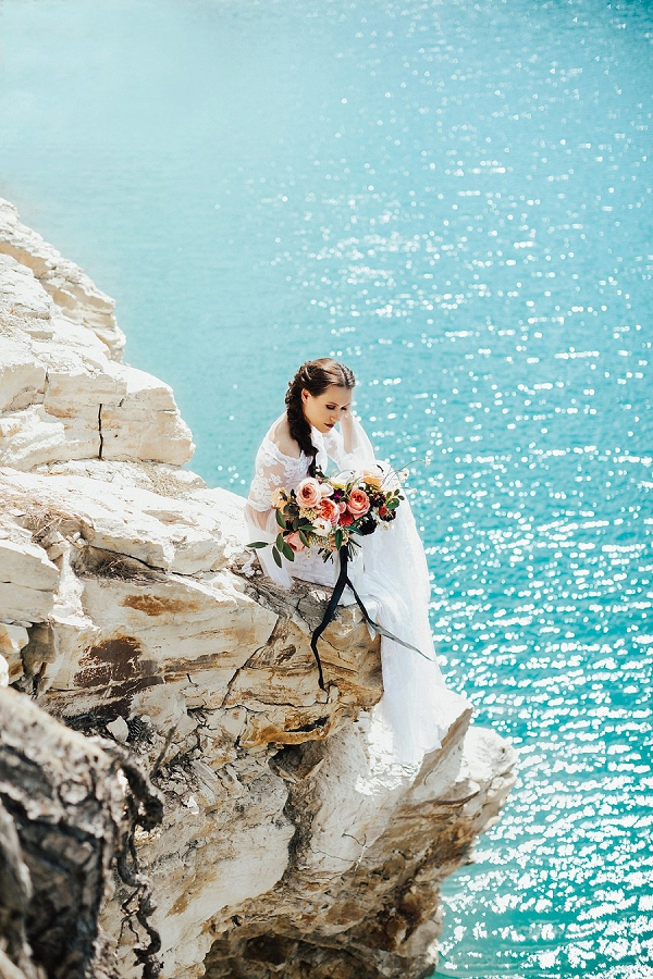 Cliff-side Bridal Portrait | Sultry Summertime Elopement Inspiration by Leighanne Herr Photography
