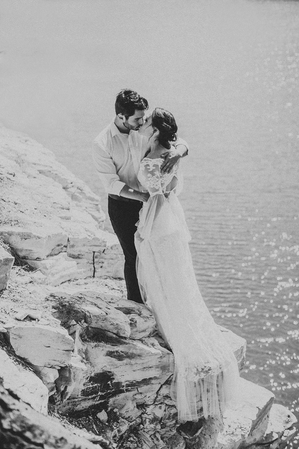 Romantic Bride and Groom Black and White Portrait | Sultry Summertime Elopement Inspiration by Leighanne Herr Photography