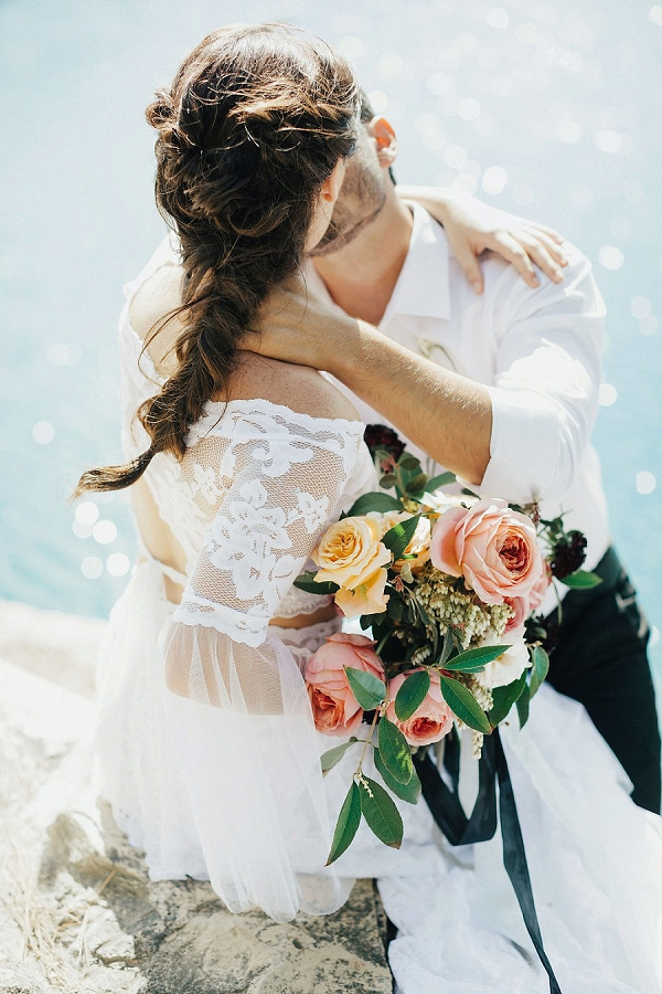 Bride and Groom Kissing | Sultry Summertime Elopement Inspiration by Leighanne Herr Photography