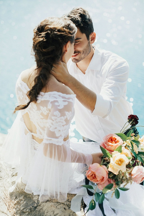 Romantic Bride and Groom Cliff-side Portrait | Sultry Summertime Elopement Inspiration by Leighanne Herr Photography