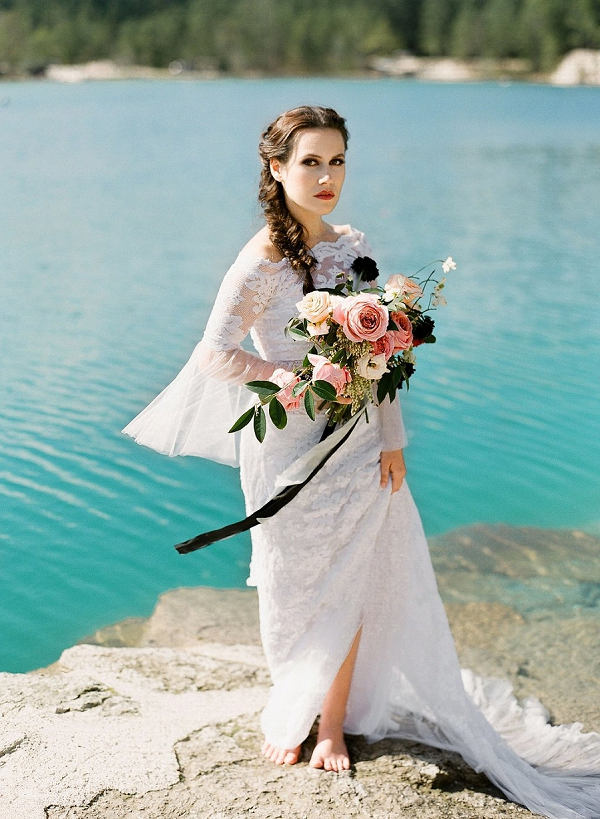 Bride with Lush Bouquet | Sultry Summertime Elopement Inspiration by Leighanne Herr Photography