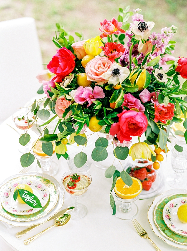 Vibrant Floral Centerpiece | Colorful Summer Bridal Brunch Editorial by Dyan Kethley Photography