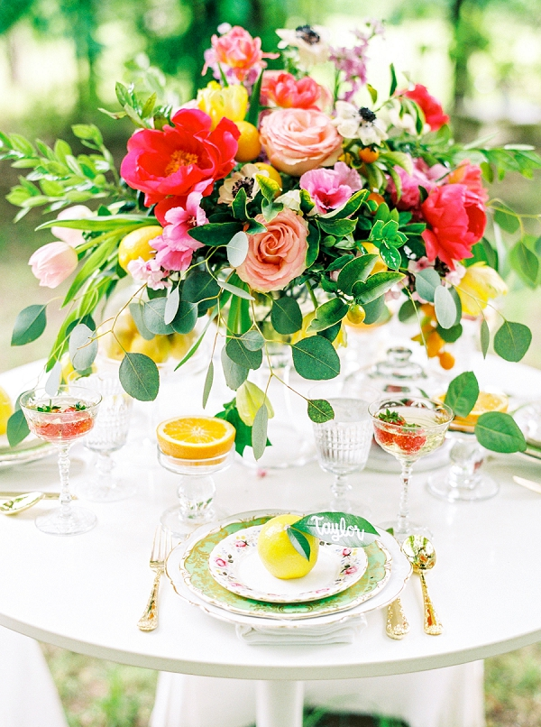 Stunning Summer Tablescape | Colorful Summer Bridal Brunch Editorial by Dyan Kethley Photography