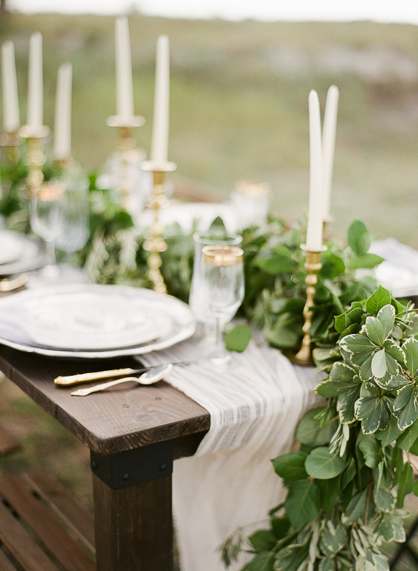 Greenery Table Runner | Romantic Beach Wedding Inspiration by The Ganeys