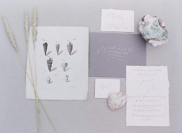 Calligraphy Wedding Invitation and Illustration   A Coastal Editorial Inspired by Shakespeare from Julie Michaelsen Photography