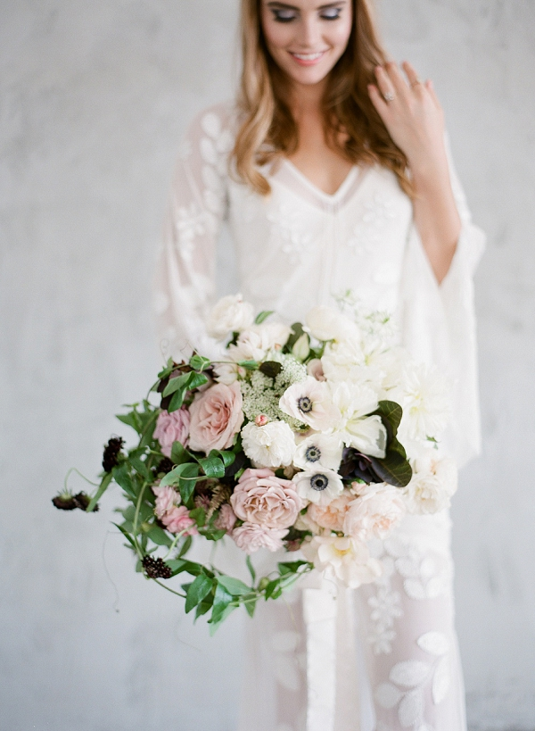 Bride with Blush Pink and Ivory Bouquet | Floral Inspired Wedding Ideas from Kristen Beinke Photography
