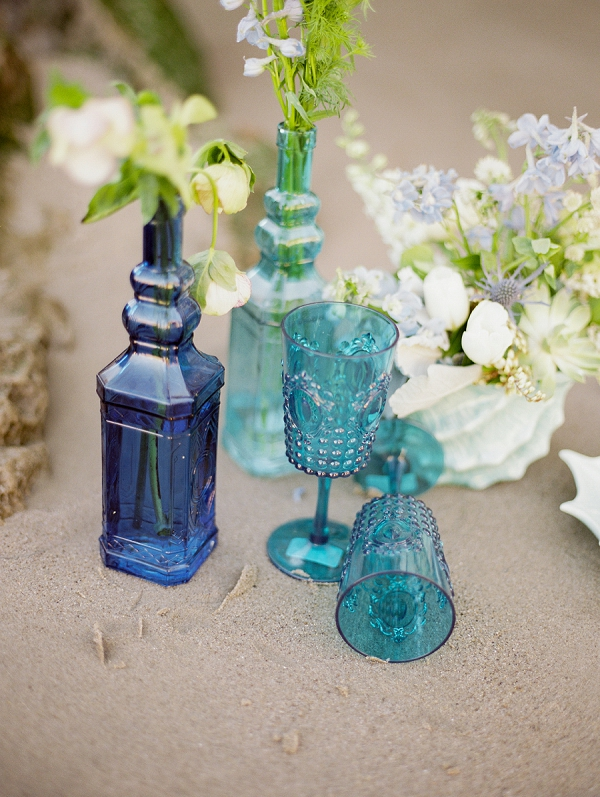 Blue Centerpieces and Glassware | Malibu Seaside Inspired Bridal Editorial by Jeremy Chou Photography