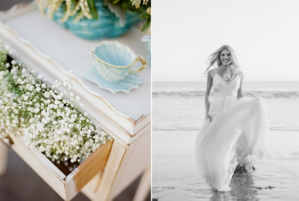 Baby's Breath Decor | Malibu Seaside Inspired Bridal Editorial by Jeremy Chou Photography