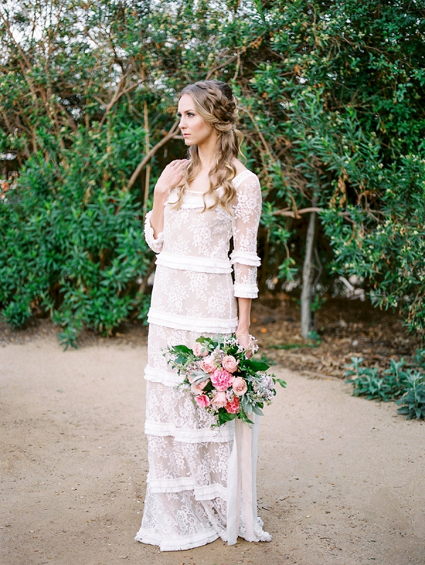 Bride with Pink Bouquet | Romantic Farm To Table Wedding Ideas by Savan Photography