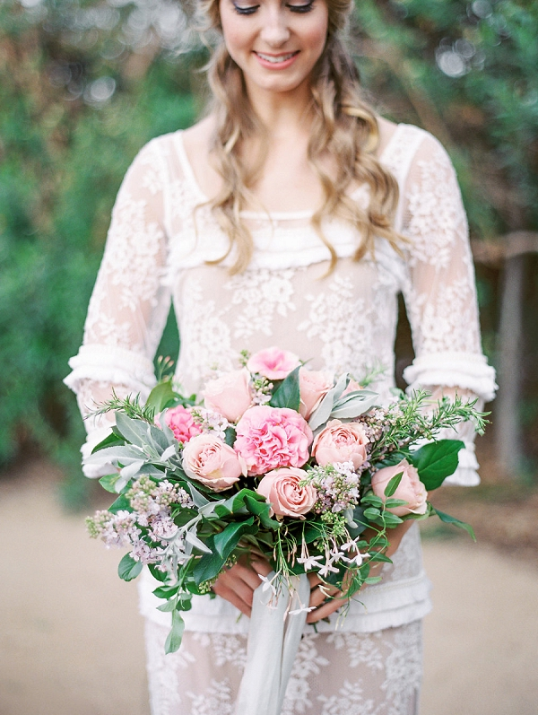 Pink Bridal Bouquet with Garden Roses | Romantic Farm To Table Wedding Ideas by Savan Photography
