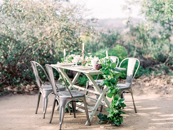 Organic Tablescape with Greenery Table Runner | Romantic Farm To Table Wedding Ideas by Savan Photography