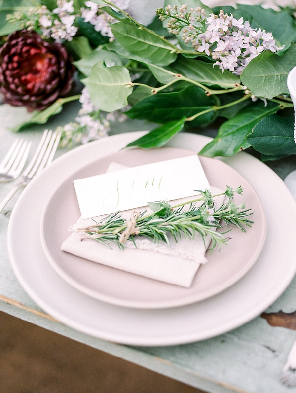 Fresh Herbs and Calligraphy at Place Setting | Romantic Farm To Table Wedding Ideas by Savan Photography