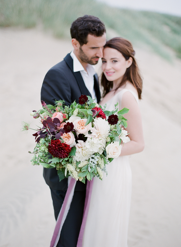 Burgundy and Peach Wedding Bouquet   Romantic Coastal Editorial Inspired by Shakespeare from Julie Michaelsen Photography