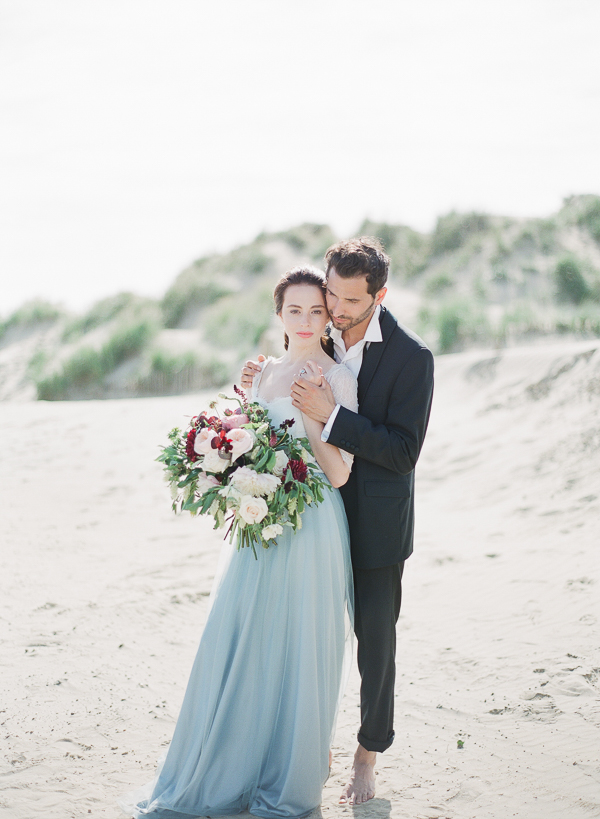 Elegant Beach Wedding Portraits   Romantic Coastal Editorial Inspired by Shakespeare from Julie Michaelsen Photography