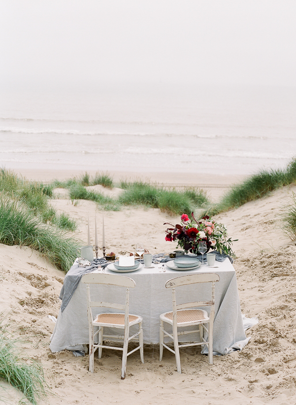 Coastal Wedding Tablescape   Romantic Coastal Editorial Inspired by Shakespeare from Julie Michaelsen Photography
