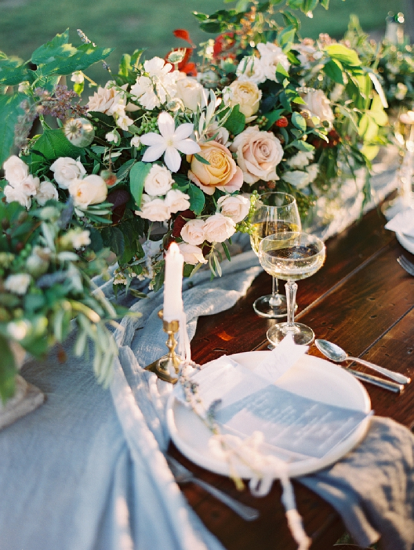 Lush Florals and Watercolor Menus on a Rustic Elegant Tablescape | Romantic Vineyard Elopement Inspiration by Gaby J Photography