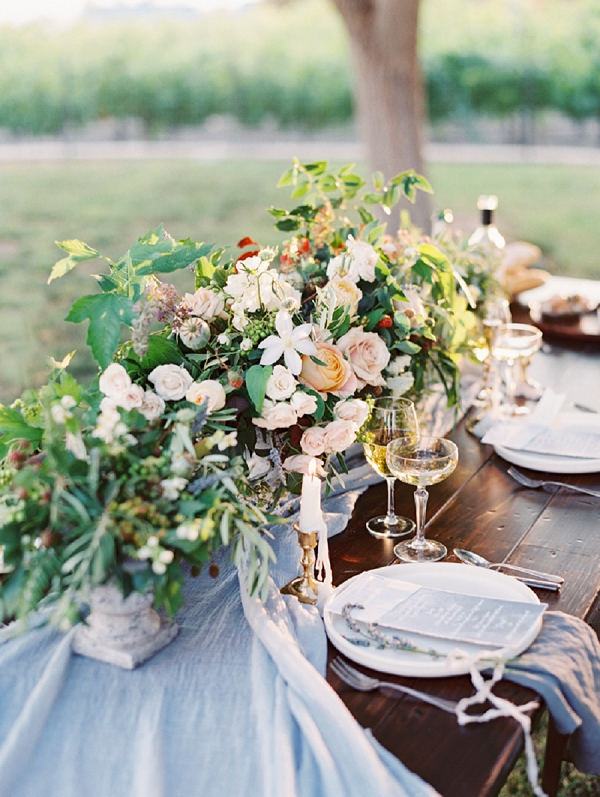 Dreamy Textured Floral Centerpiece | Romantic Vineyard Elopement Inspiration by Gaby J Photography