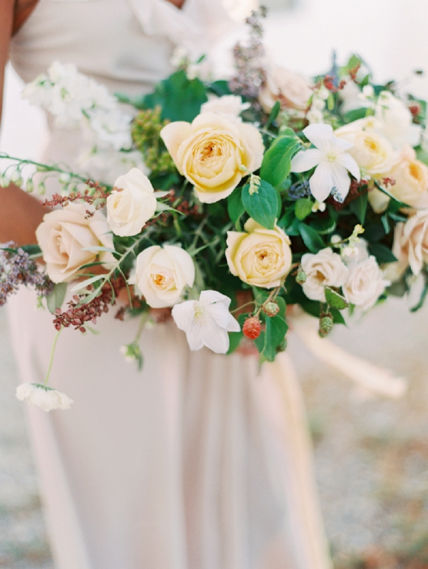 Yellow, Peach and Ivory Bouquet | Romantic Vineyard Elopement Inspiration by Gaby J Photography
