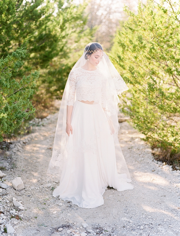 Bridal Crop Top and Skirt | Rustic and Organic Wedding Inspiration from Keestone Events and Ben Q Photography