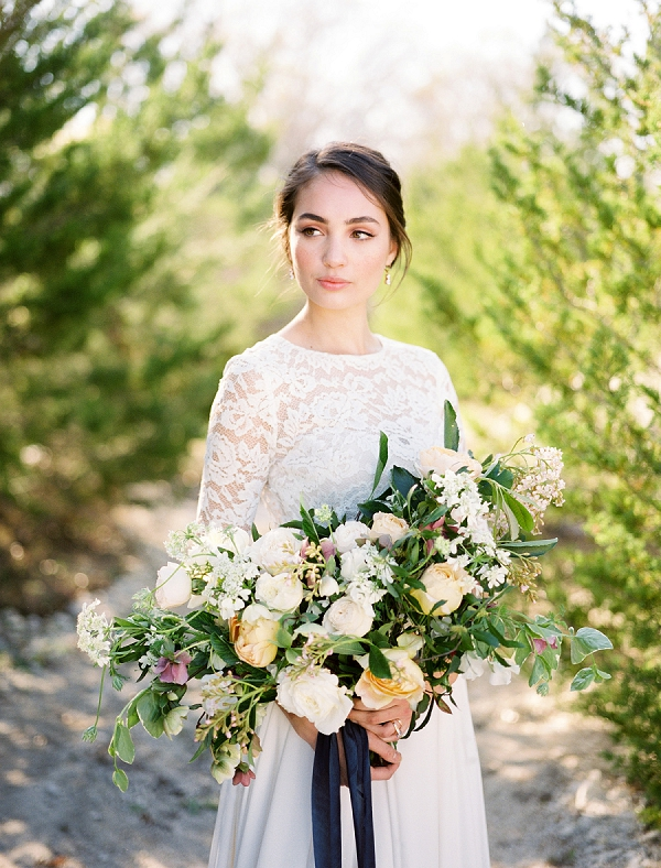 Bride with Full Bouquet | Rustic and Organic Wedding Inspiration from Keestone Events and Ben Q Photography
