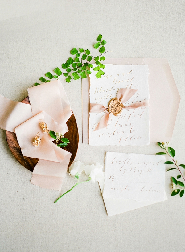 Calligraphy Invitations   Summer Wedding Inspiration With An Industrial Vibe from Kate Pease Photography and Grit + Gold Weddings