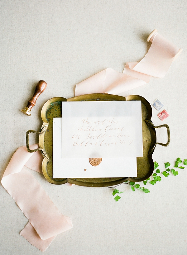 Vellum Invitation Suite With Calligraphy   Summer Wedding Inspiration With An Industrial Vibe from Kate Pease Photography and Grit + Gold Weddings