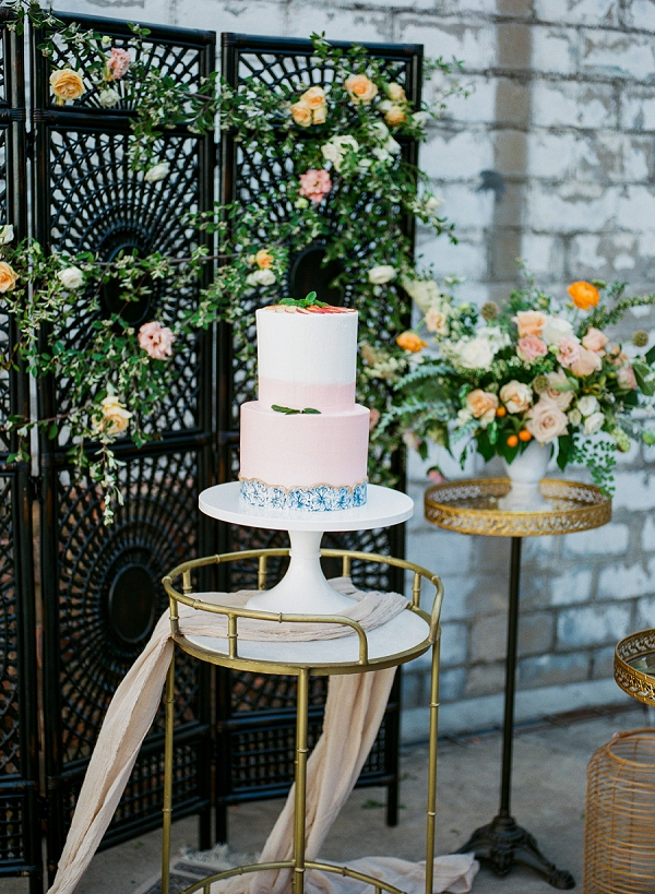 Peach and Blue Wedding Cake   Summer Wedding Inspiration With An Industrial Vibe from Kate Pease Photography and Grit + Gold Weddings