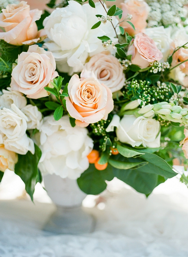 Rose and Peony Centerpiece   Summer Wedding Inspiration With An Industrial Vibe from Kate Pease Photography and Grit + Gold Weddings