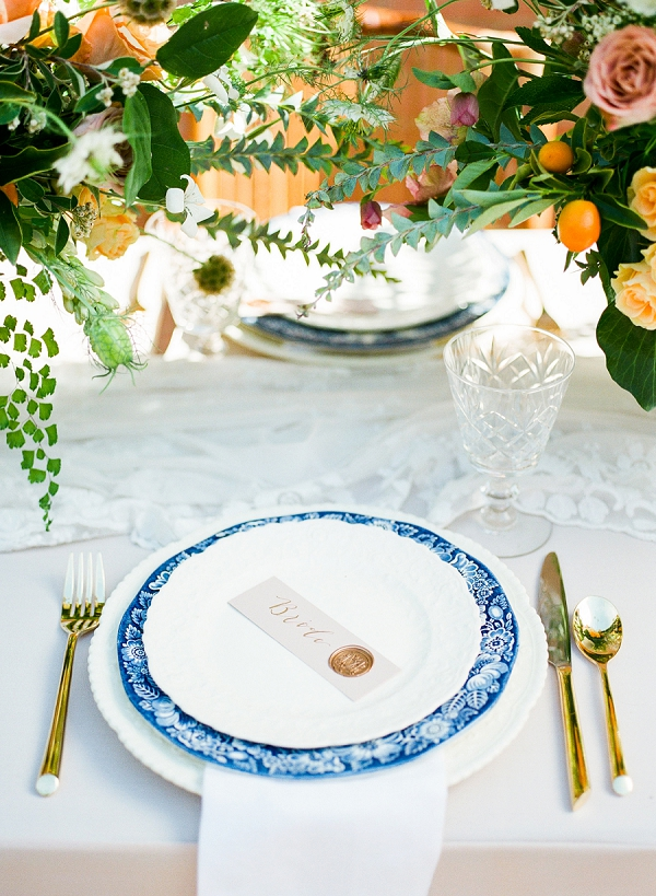 Elegant Place Setting   Summer Wedding Inspiration With An Industrial Vibe from Kate Pease Photography and Grit + Gold Weddings
