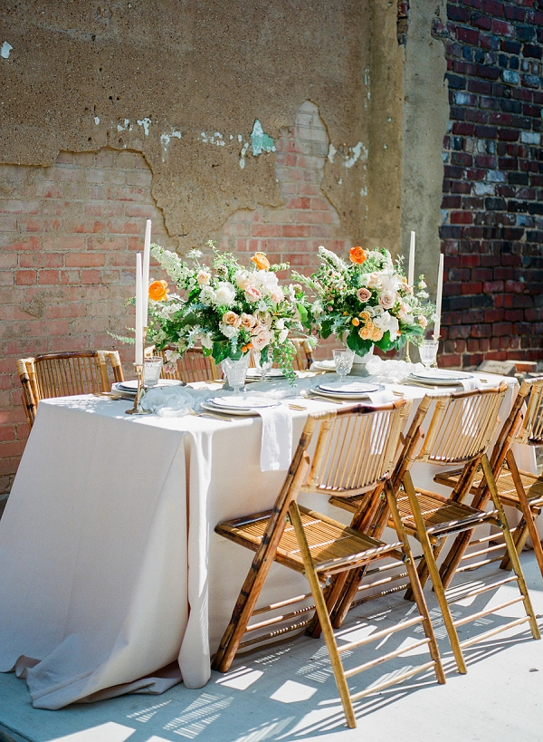 Summer Inspired Tablescape   Summer Wedding Inspiration With An Industrial Vibe from Kate Pease Photography and Grit + Gold Weddings