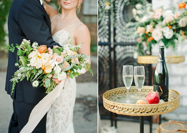 Romantic Peach Bouquet   Summer Wedding Inspiration With An Industrial Vibe from Kate Pease Photography and Grit + Gold Weddings