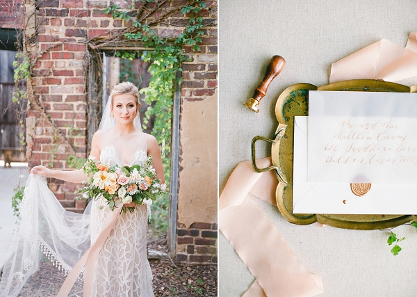Soft Peach Tones   Summer Wedding Inspiration With An Industrial Vibe from Kate Pease Photography and Grit + Gold Weddings