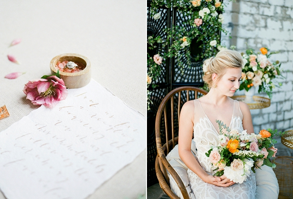 Summer Bridal Bouquet   Summer Wedding Inspiration With An Industrial Vibe from Kate Pease Photography and Grit + Gold Weddings