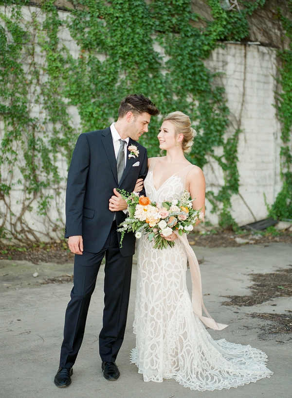 Bride and Groom   Summer Wedding Inspiration With An Industrial Vibe from Kate Pease Photography and Grit + Gold Weddings
