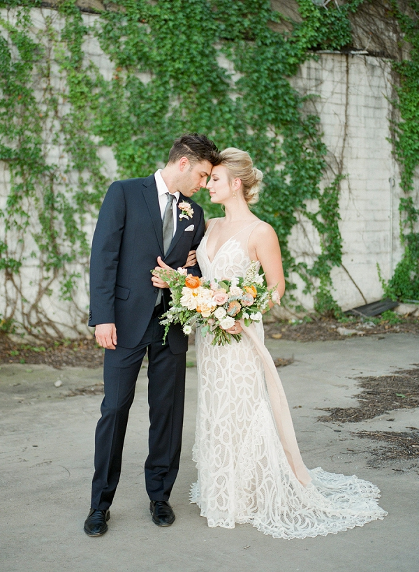 Bride and Groom Portrait   Summer Wedding Inspiration With An Industrial Vibe from Kate Pease Photography and Grit + Gold Weddings