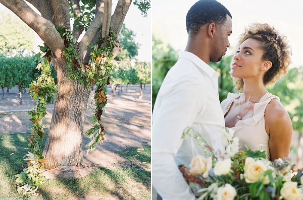 Organic Ceremony Decor with Greenery Draped on a Tree | Romantic Vineyard Elopement Inspiration by Gaby J Photography