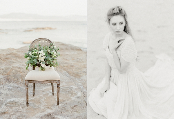 White Bouquet with Greenery | Serene Coastal Bridal Session By Jeanni Dunagan