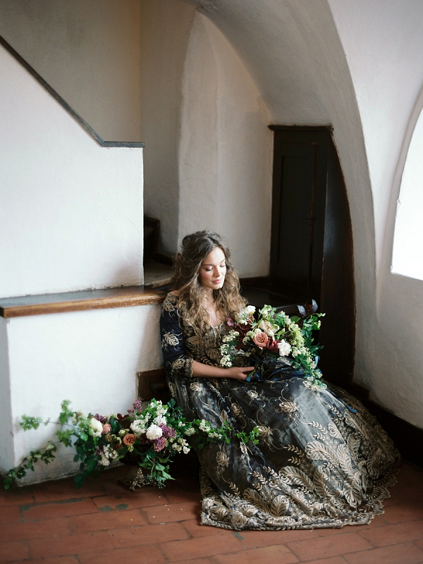 Bride with Stunning Florals | Sleeping Beauty Fairytale Wedding Inspiration from Elena Pavolova Photography and High Emotion Weddings