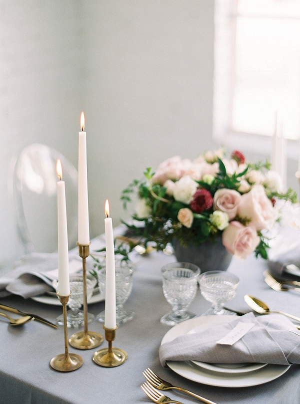 Tablescape with Candles | Modern Classic Wedding Ideas from Kristine Herman Photography