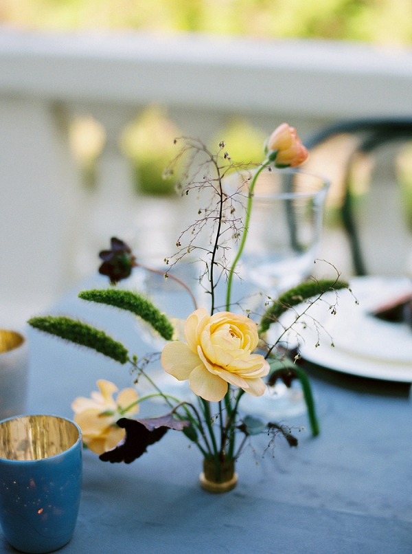 Floral Centerpiece and Candles | Modern Elopement Inspiration by Booth Photographics