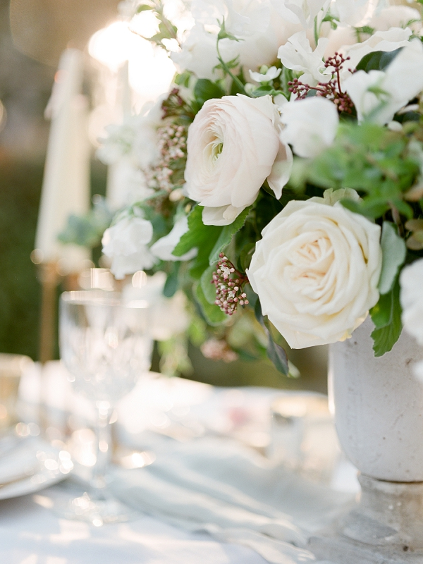 White Floral Centerpiece | Secret Garden Wedding Insiration by Kate Anfinson Photography and Natalie Choi Events