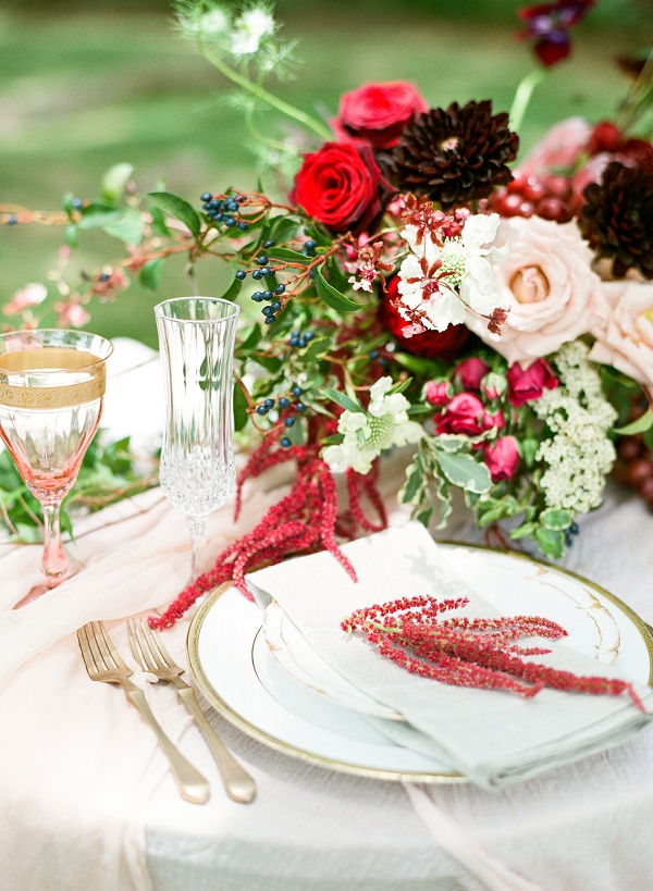 Place Setting and Centerpiece | Tropical Estate Wedding Inspiration by ARIA Studios