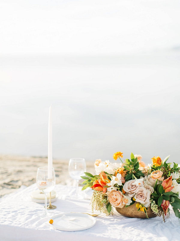 Tablescape | Tropical Sunrise Coastal Editorial by Kenzie Victory Photography