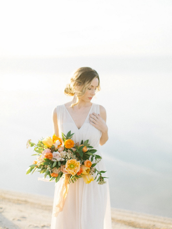 Bride with Vibrant Bouquet | Tropical Sunrise Coastal Editorial by Kenzie Victory Photography