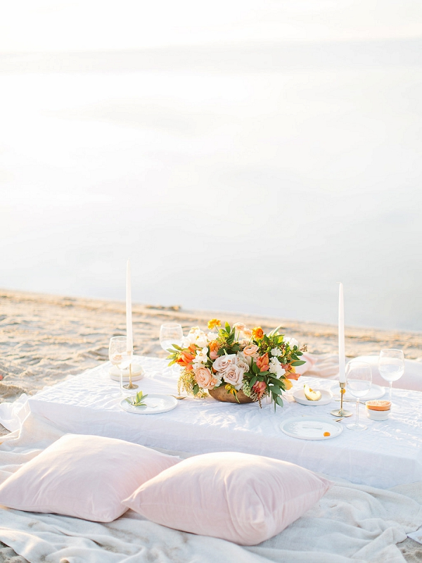 Moroccan Style Seating for a Beach Wedding | Tropical Sunrise Coastal Editorial by Kenzie Victory Photography