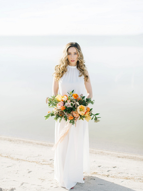 Bride with Bouquet | Tropical Sunrise Coastal Editorial by Kenzie Victory Photography