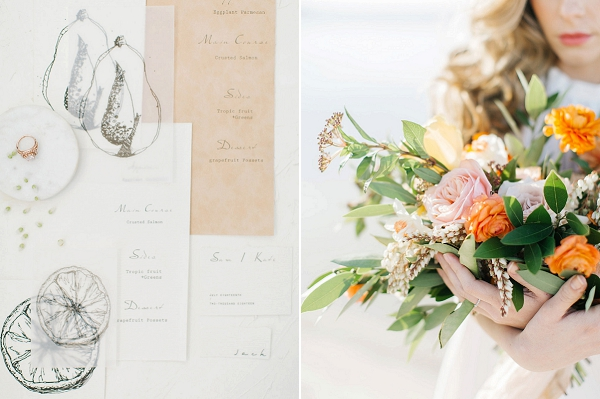 Illustrated Wedding Invitations | Tropical Sunrise Coastal Editorial by Kenzie Victory Photography