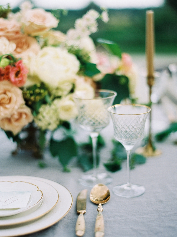 Gold Rimmed Glassware | Villa Romance By Shannon Moffit Photography